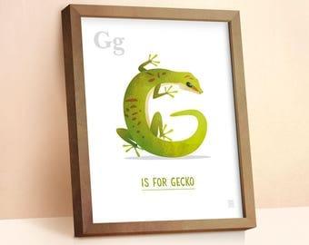 Gecko Print | Nursery Animal Print | Alphabet letters | Alphabet Print | ABC letters | Animal Prints for Nursery | Nursery Wall Art