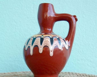 Vintage ceramic pitcher,Ceramic pitcher for water, Collectible Bulgarian folk pottery