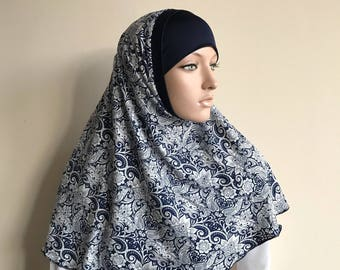 Paisley Hijab Two Piece,Al Amira style,  Dark blue and wite Hijab, Scarf handmade, viscose hijab, prayer scarf, islamic scarf, burqa