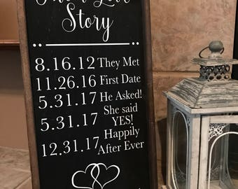 Our Love Story Sign, Their Love story sign