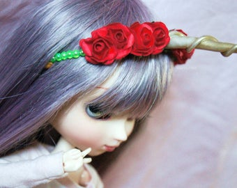 Flower headress for dolls Pullip/Taeyang/Dal/Isul/Byul/Yeolume/SD/bjd dolls 1/3 (with horns)