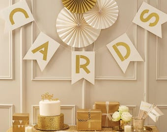 Ivory And Gold Cards Bunting Wedding Decoration Decor Decorations