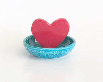 Mini Red Heart Ring Dish