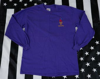 Vintage 1996 Atlanta Olympic Games long sleeve T Shirt Size M Purple Spellout Slim