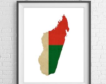 Madagascar Flag Map Print, Madagascar  Map, Madagascar  Silhouette, Housewarming Gift, Vintage Flag Poster, Wall Art, Map of Madagascar