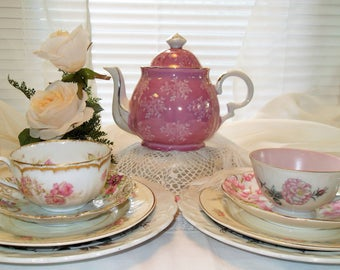 Mismatched Tea for Two Pink Tea Set Pink Teapot Cups and Saucers