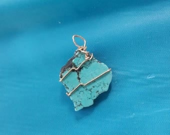 turquoise, silver wire wrap pendant, statement piece