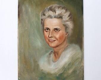 Vintage Portrait Painting of a Woman: Silver Fox Portrait Painting