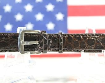 Genuine Brown Alligator Leather Skin Watch Strap 20mm (Made in U.S.A) #67