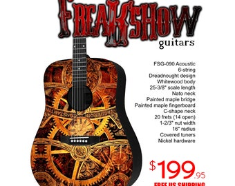 Graphic Acoustic Guitar STEAMPUNK Design by FreakshowGuitars - FREE SHIPPING