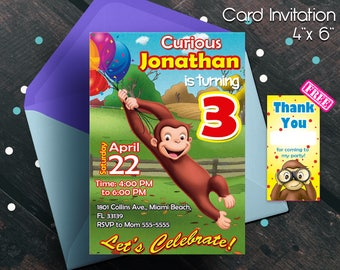 Curious George invitation, Curious George Birthday, Curious George party, birthday invitations, birthday party, boy, free thank you cards