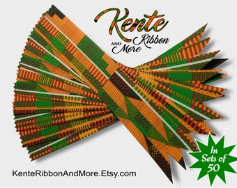 "SET OF 50 Kente Ribbon BOOKMARKS - 50cents Each - 1-3/8""x8-1/2"" - Fabric is printed starched cotton - Ask your questions before you order."