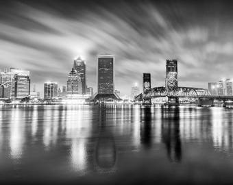 Jacksonville Florida canvas, Black and White, Jacksonville Canvas, Jacksonville skyline, Jacksonville Wall canvas, 3 panel or single panel,