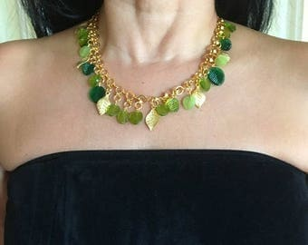 "Hot Summer Sale Leaves Necklace 18"" - 24kt Gold Plated, Handmade - With 3"" Earrings Included"