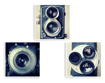 Gift for Photographer, Hipster Gift Ideas, Square Print Set, Camera Wall Art, Set of 3 Prints, Large Wall Art, Vintage Camera Art