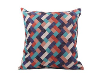Geometric decorative pillow cover Chevron throw pillow covers Rainbow pillow cases Rustic cushion cover Home decor gift 18x18