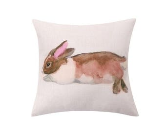 Watercolor rabbit throw pillow covers Bunny rabbit decorative pillow case Spring rabbit cushion cover Sofa cushion case home decor 18x18