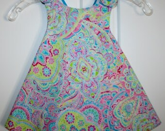 18 months, Multi Color with Blue and white zig zag Reversible Sundress.