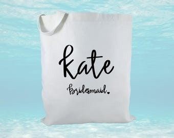 Personalized Bridal Party Gift Bag, Wedding Party Gift Bag, Bridal Gift Bag, Canvas Tote Bag