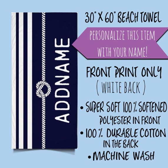 Personalized Beach Towel, Personalized Name Monogram Beach Towel, Navy and White Stripes Rope Knot Beach Towel, Custom Name Beach Towel
