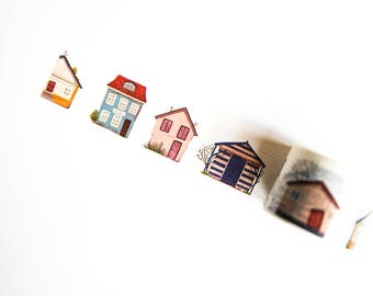 Cute Houses Washi Tape - Decorative Tape - Planner Tape
