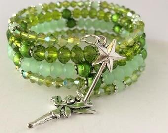 Tinker Bell Bracelet, Tinkerbell Bracelet, Fairy Bracelet, Disney Bracelet, Disney Jewelry, Green Fairy Bracelet, Tink Wrap Bracelet