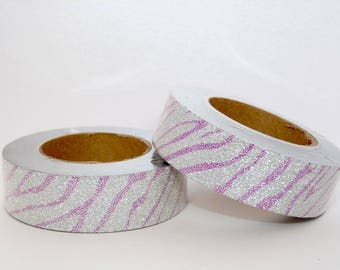 Glitter Washi Tape with silver and purple color, masking tape - glitter
