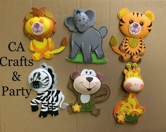 Jumbo Safari Animal Foam decorations 7 to 9 inch- Jungle Animals- Circus Animals- Safari Theme- Noah's Ark theme, Safari party.