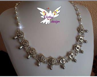Necklace Silver 925, swarovski crystal, rhinestone, Arcos ROMY