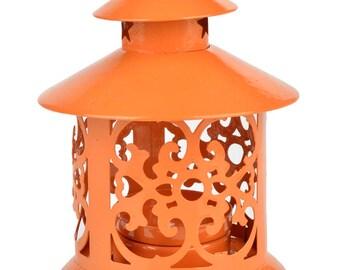 "5"" Orange Round Hurricane Candle Lantern"