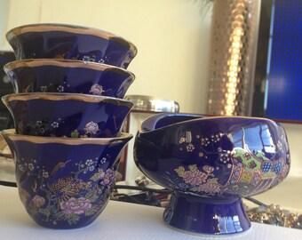 Japanese porcelain cobalt sake tea set 5, trinket box & pedestal bowl