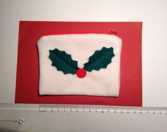 Felt Coin Purse with Festive Christmas Holly and Button Detail