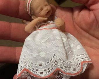 OOAK baby doll in white dress with pink lining
