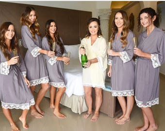 Bridesmaid robes, cotton robe, Bridesmaid gift, cotton lace robe,  bridal party robe, personalized robes, bride robe, maid of honor gift