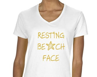 Women's Resting Beach Face V-Neck Graphic T-Shirt