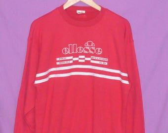 Vintage 90s Ellesse Perugia Italia Sweatshirt Sweater Crewneck Red Medium Size