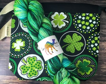 St. Patrick's Day Kit | Ready to Ship | Sock Yarn and Project Bag | Superwash Merino Wool and Nylon