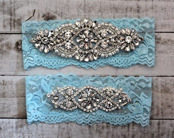 Something Blue Bridal Garter, Lace Wedding Garter Set, bridal garter set, vintage rhinestones, pearl and rhinestone garter set