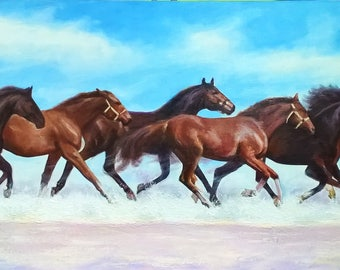 Oil painting Horse painting Horses wall art Horse wall art Running horse painting Large wall art Large canvas art Living room wall art