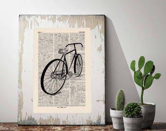 Print bike no 2 antique book page - portrait