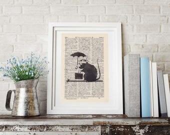 Print BANKSY Office rat antique book page - portrait