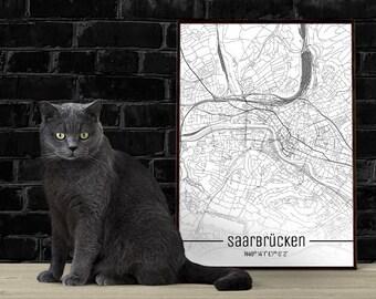 Saarbrücken-Just a map-din A4/A3-Print