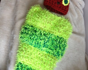 Hungry catapillar inspired cosy toes and hat set