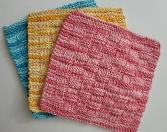 Hand Knitted Washcloths Bright