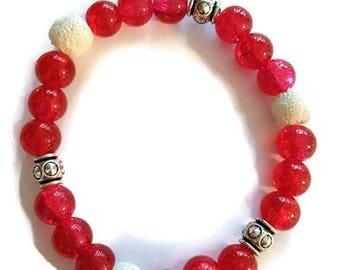 Pink Diffuser Bracelet, Aromatherapy Bracelet, Essential Oil Diffuser Bracelet, Stretchy Bracelet, Beaded Bracelet, Oily Gift, Oil Lovers