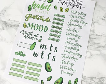 Monthly Planner Printable Sticker Kit PNG - Avocado Themed SVG - Spring Avocado Printable - Planners and Journal Printables