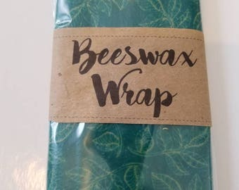 Beeswax Wrap reusable eco friendly food covers 12 x 12 size. Similar to Bee's Wrap.  Turquoise Leaves Design