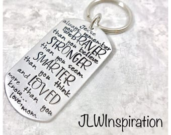 Braver, stronger, smarter, loved key chain, son, daughter, mom, dad, wife, husband, grandma, sister, name, personalized, gift, present
