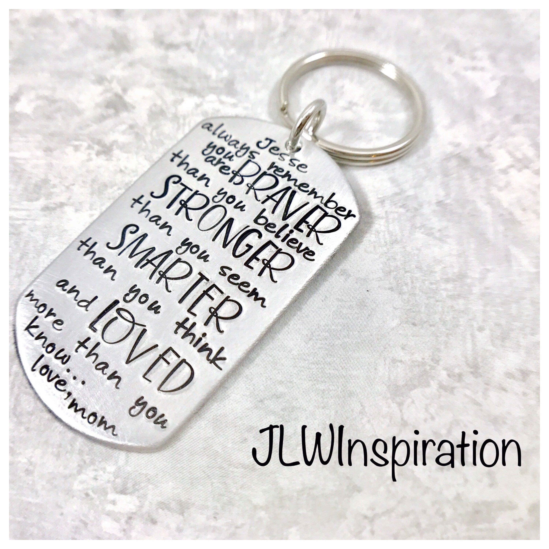 Braver, stronger, smarter, loved key chain, son, daughter