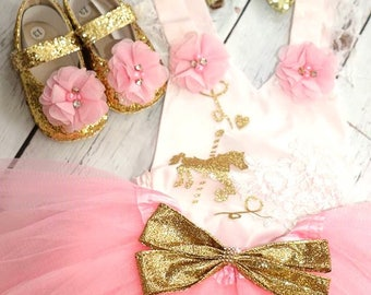 4 pieces set /carrousel birthday set/tutu with lace/gold and pink birthday set